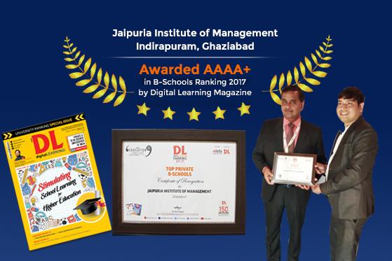Awarded AAAA+ in B-Schools Ranking 2017 by Digital Learning Magazine
