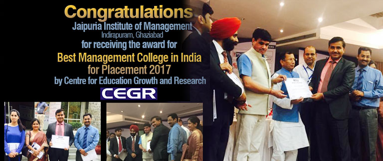 Congratulations   Jaipuria Institute of Management Indirapuram, Ghaziabad        for receiving the award for     Best Management College in India